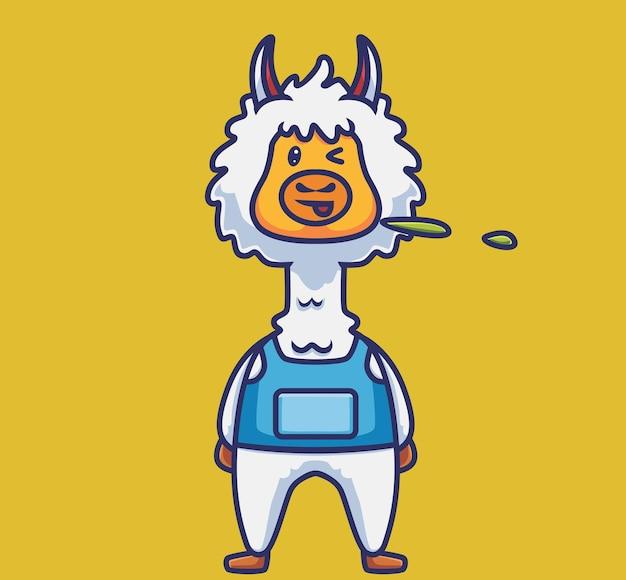 Simpatico alpaca che sputa. concetto di natura animale del fumetto illustrazione isolata. stile piatto adatto per sticker icon design premium logo vettoriale. personaggio mascotte