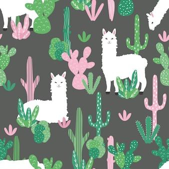 Simpatici alpaca e cactus su uno sfondo senza soluzione di continuità.