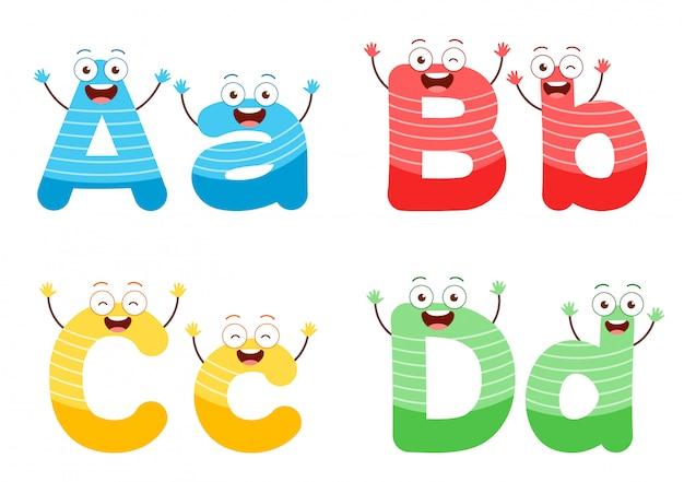 Set di caratteri alfabeto carino per lo studio dei bambini