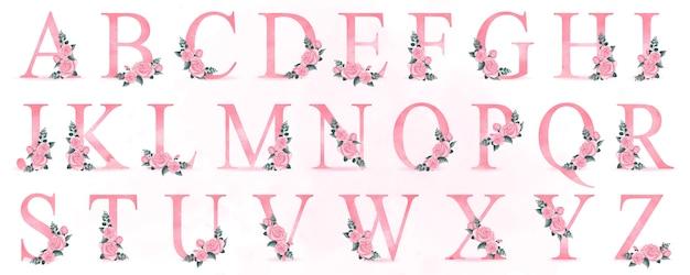 Alfabeto carino con illustrazione di rose