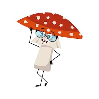 Simpatico personaggio amanita con occhiali ed emozioni gioiose sorriso viso occhi felici braccia e gambe volano agar...