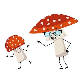 Simpatico personaggio amanita con emozioni gioiose sorriso viso occhi felici braccia e gambe volare fungo agarico ...