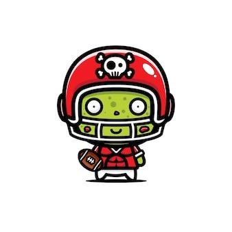 Disegno vettoriale carino giocatore di football americano zombie