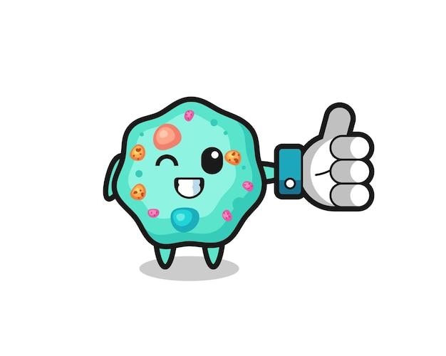 Simpatica ameba con simbolo del pollice in alto sui social media, design in stile carino per t-shirt, adesivo, elemento logo