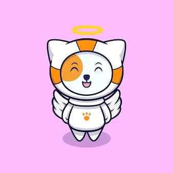 Simpatico gatto angelo che indossa tuta da astronauta