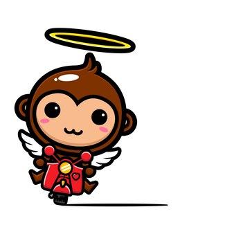 Simpatica scimmia angelo in sella a una moto classica
