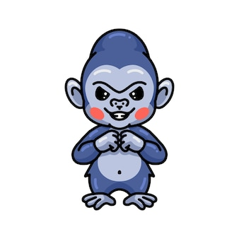 Cartone animato carino gorilla bambino arrabbiato