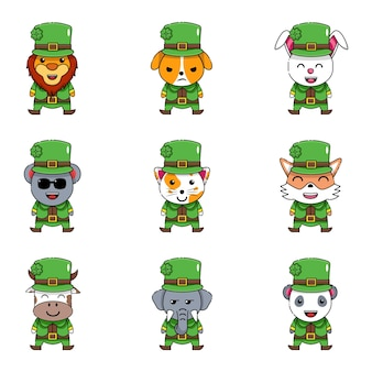 Simpatico set di fagotti di animali come leprechaun