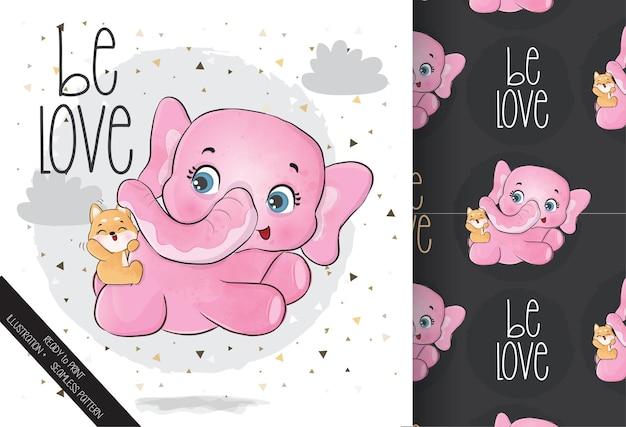 Volo felice dell'elefante animale sveglio del bambino con il reticolo senza giunte del piccolo cane