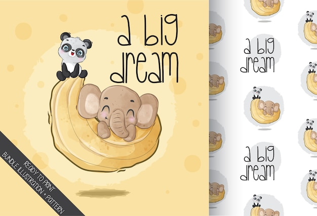 Elefantino animale sveglio con il panda sul reticolo senza giunte della luna