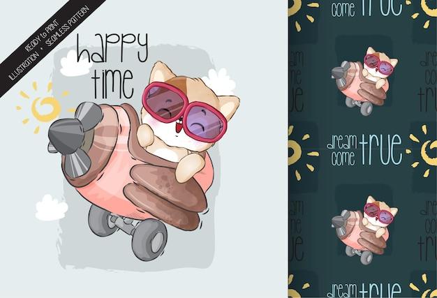 Volo felice del gattino animale sveglio del bambino con il modello senza cuciture dell'aeroplano