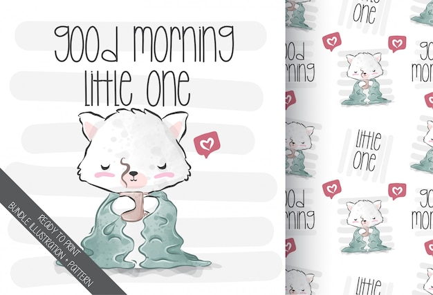 Tenuta sveglia del gattino del bambino animale sulla tazza di caffè con il modello senza cuciture