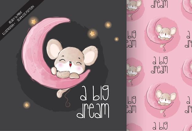 Mouse animale sveglio del bambino felice sul reticolo senza giunte della luna