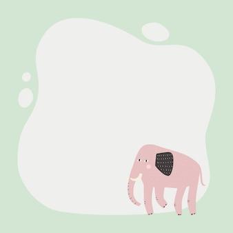 Simpatico animale una cornice macchia in stile semplice cartone animato disegnato a mano. modello per il tuo testo o foto.