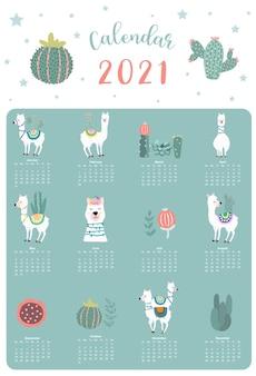 Simpatico calendario animale 2021 con lama, alpaca, cactus per bambini, ragazzi, neonati.