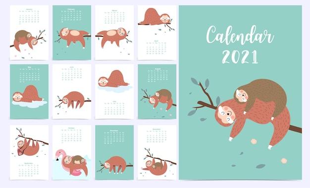 Calendario animale carino 2021 con bradipo.
