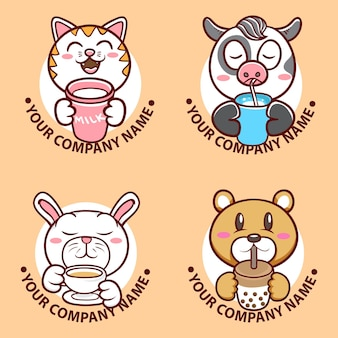 Set di illustrazioni per il viso di un simpatico personaggio animale