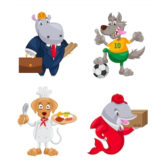 Carattere animale sveglio sul set di illustrazione del lavoro