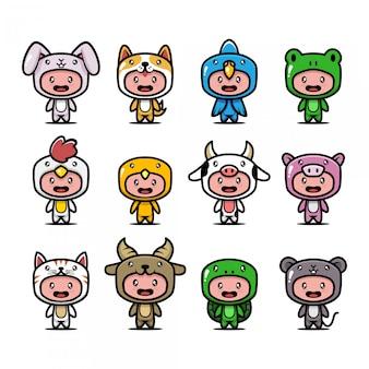 Mascotte di costume animale carino