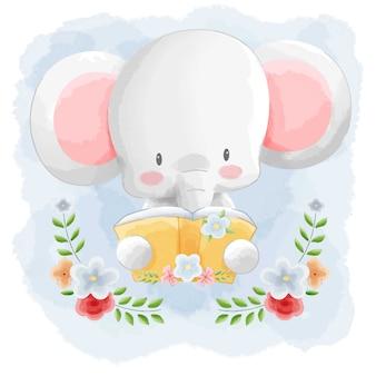 Libro di lettura di elefante animale carino con sfondo acquerello cornice di fiori