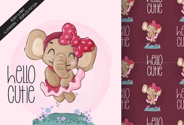 Simpatico elefante animale con un farfallino rosso