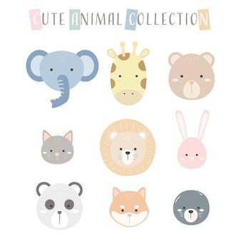 Modello pastello di facce di animali carino personaggio icona