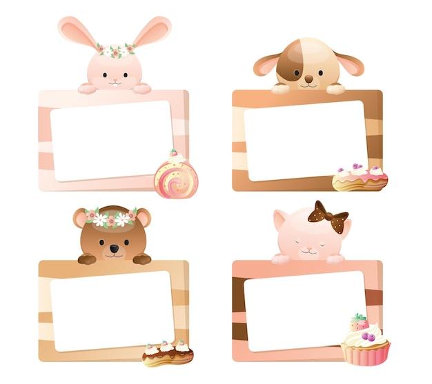 Simpatico set di animali cornice animale