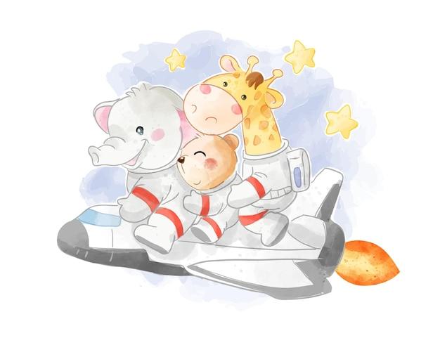 Simpatico amico animale equitazione nave razzo illustrazione
