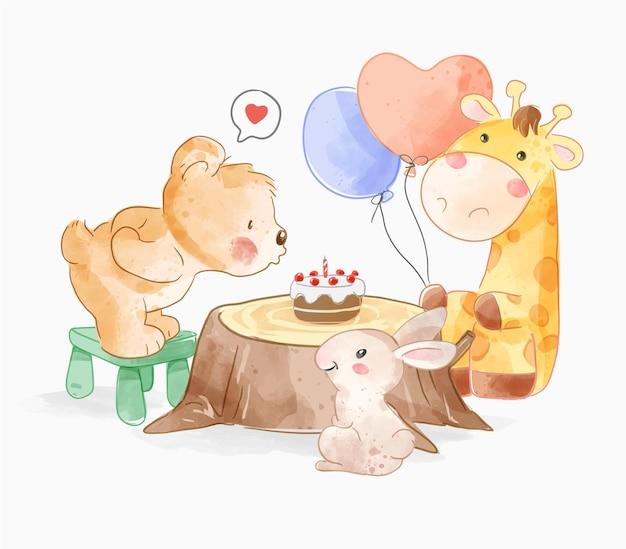 Simpatici amici animali con torta di compleanno su illustrazione di ceppo d'albero