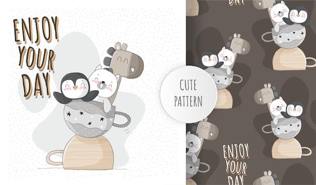Set di pattern di gioco felice animale carino