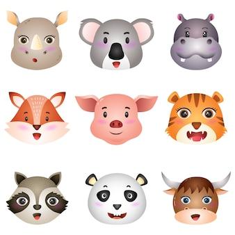 Simpatiche teste di animali: rinoceronte, koala, ippopotamo, volpe, maiale, tigre, procione, panda e bufalo