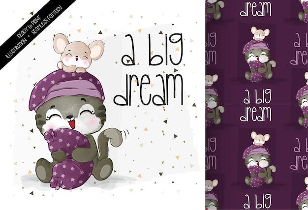 Simpatico topo gattino animale con cuscino con motivo senza cuciture