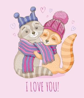 Illustrazione delle coppie di amore animale carino