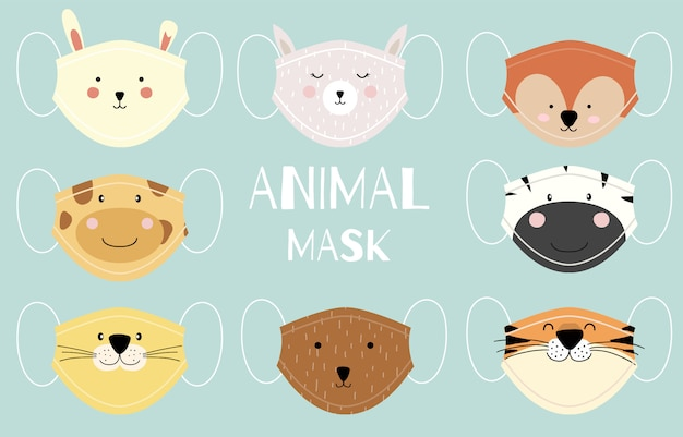Collezione di maschere animali carine con tigre, volpe, zebra, panda, orso, giraffa. illustrazione per prevenire la diffusione di batteri, coronvirus