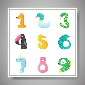 Simpatici numeri di animali da 1 a 9 illustrazione vettoriale disegnata a mano per poster della scuola materna, biglietto d'invito per bambini, adesivi, volantini, saluti, arte della parete