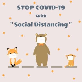 Animale carino in distanza sociale
