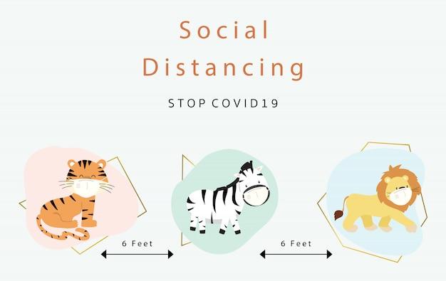 Collezione di ditancing sociale animale carino con tigre, zebra, leone indossa maschera.illustrazione di vettore per prevenire la diffusione di batteri, coronvirus