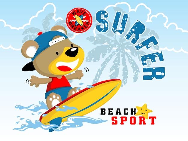 Simpatico cartone animato di surf animale