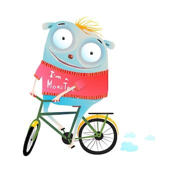 Simpatico animale in maglione riding bike