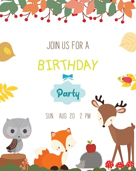 Vettore animale sveglio della carta dell'invito della festa di compleanno di tema animale.