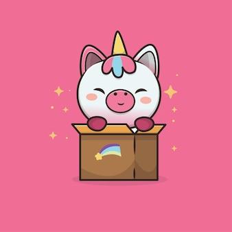Illustrazione del fumetto di unicorno animale carino