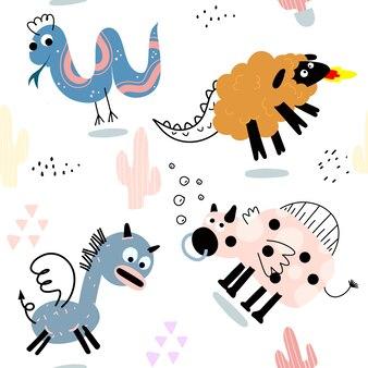 Insieme dell'icona dell'illustrazione di vettore animale sveglio