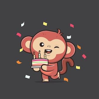 Illustrazione di scimmia della fauna selvatica animale carino