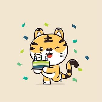 Illustrazione sveglia del fumetto della tigre della fauna selvatica degli animali Vettore Premium