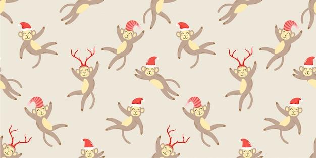 Doodle senza cuciture di simpatici animali scimmia inverno animale