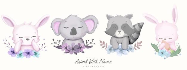 Animale carino con raccolta di fiori