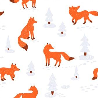 Modello senza cuciture animalesco carino. illustrazione. con la volpe in una foresta invernale.