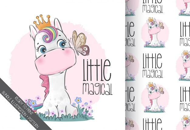 Unicorno del bambino di simpatici animali con reticolo senza giunte della farfalla