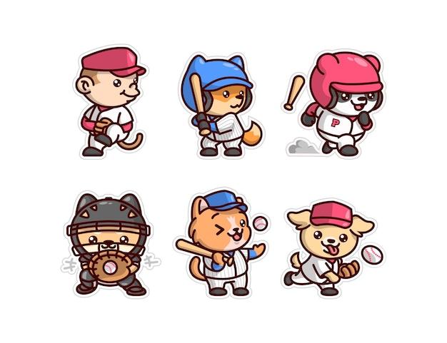 Simpatici animali nella collezione di personaggi dei cartoni animati in jersey di baseball
