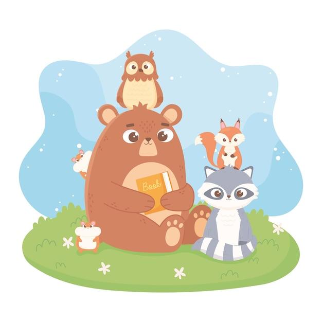Simpatici animali orso gufo procione criceto scoiattolo fumetto illustrazione